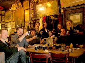 Patrons at McSorley's in NYC as seen in American Public House Review