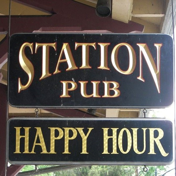 Pub sign at the Lmabertville Station as seen in American Public House Review