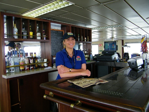 Helen Mashuda, bartender aboard the Cape May - Lewes Ferry